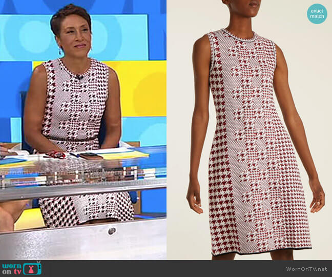 Sleeveless Intarsia-Knit Wool Dress by Oscar de la Renta worn by Robin Roberts (Robin Roberts) on Good Morning America