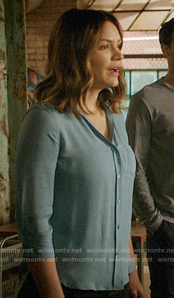 Paige's blue button down blouse on Scorpion