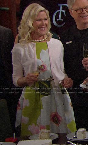 Pam's green floral dress on The Bold and the Beautiful