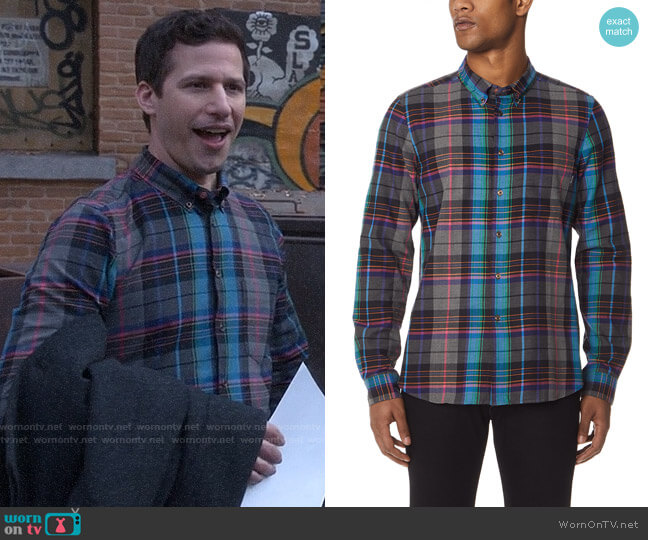 PS by Paul Smith Plaid Tailored Fit Shirt worn by Jake Peralta (Andy Samberg) on Brooklyn Nine-Nine