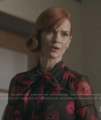 Penelope's poppy print blouse on Riverdale