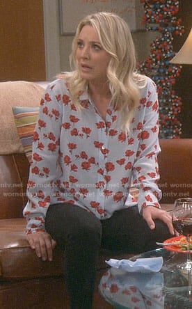 Penny's blue shirt with red flowers on The Big Bang Theory