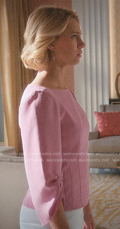 Petra's pink top with ruched sleeves on Jane the Virgin