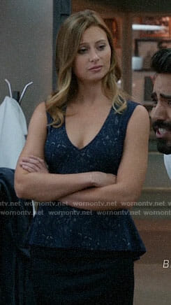 Peyton's blue lace peplum top on iZombie