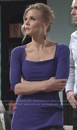 Phyllis's purple dress with gathered side on The Young and the Restless