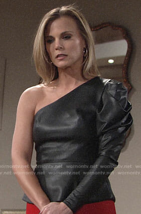 Phyllis's leather one-shoulder top on The Young and the Restless