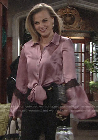 Phyllis's pink tie front blouse with bell sleeves on The Young and the Restless