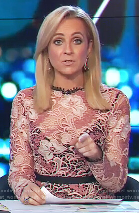 Carrie's pink floral lace dress on The Project