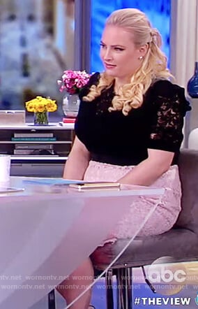 Meghan's black lace top and pink lace skirt on The View