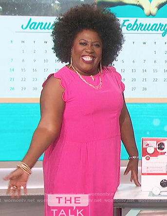 Sheryl's pink scalloped sleeve dress on The Talk