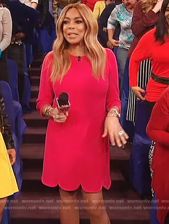 Wendy's pink scalloped hem dress on The Wendy Williams Show