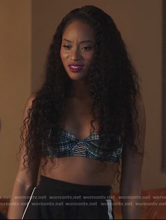 Tangey's plaid criss cross bra on Famous in Love