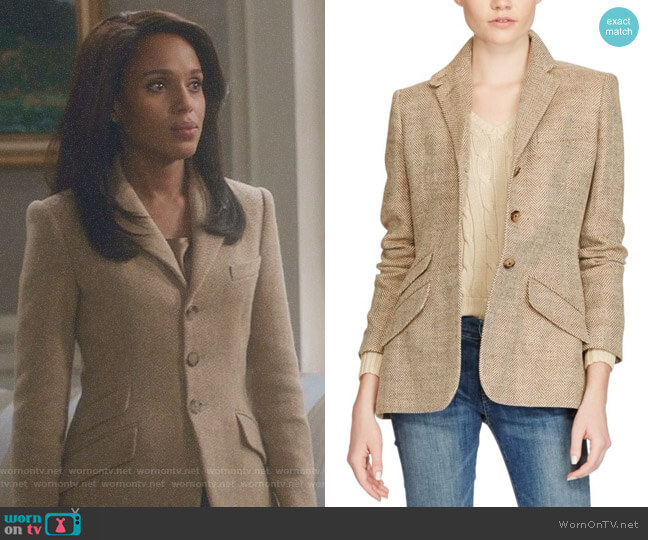 Linen Herringbone Blazer by Polo Ralph Lauren worn by Kerry Washington on Scandal