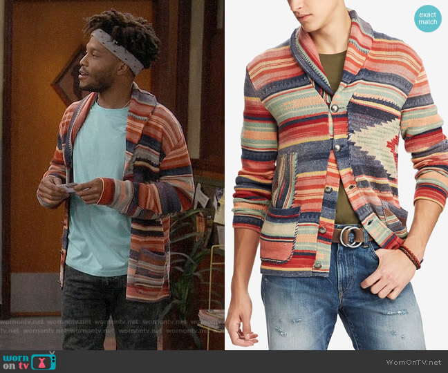 Polo Ralph Lauren Patterned Shawl Cardigan worn by Franco Wicks (Jermaine Fowler) on Superior Donuts
