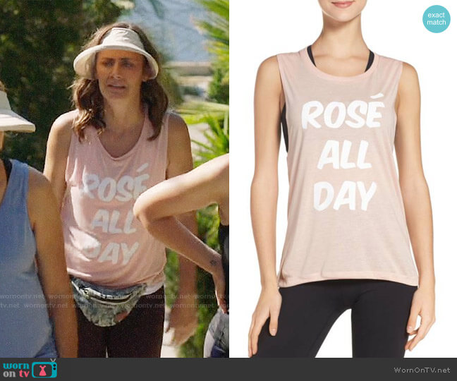Private Party Rosé All Day Jersey Muscle Tee worn by Diane Farr on Splitting Up Together