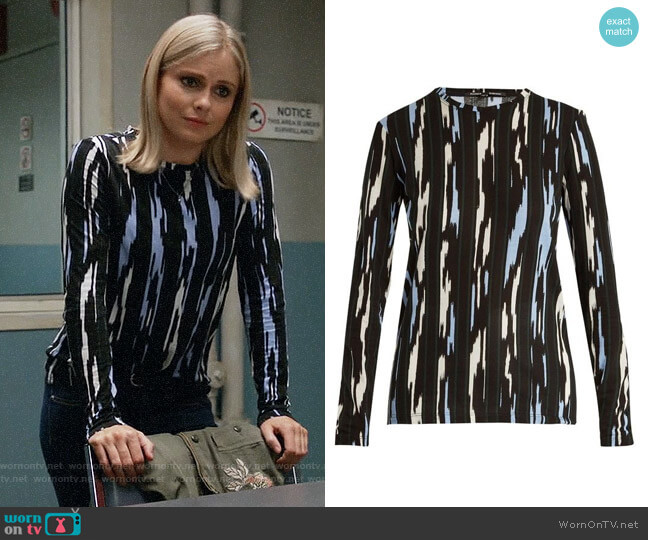 Proenza Schouler Ikat stripe-print long-sleeved cotton T-shirt  worn by Liv Moore (Rose McIver) on iZombie