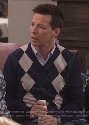 Jack's purple argyle sweater on Will and Grace