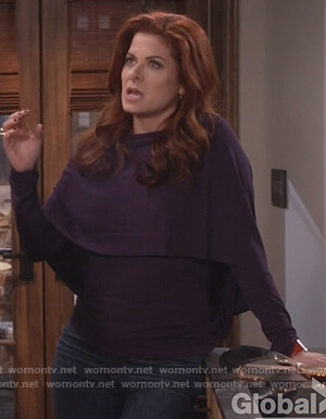 Grace's purple cape effect long sleeve top on Will and Grace