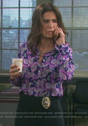 Hope's purple paisley print shirt on Days of our Lives