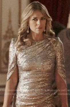 Queen Helena's silver sequin gown on The Royals