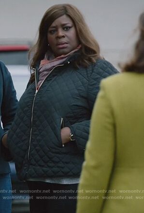Ruby's quilted bomber jacket on Good Girls