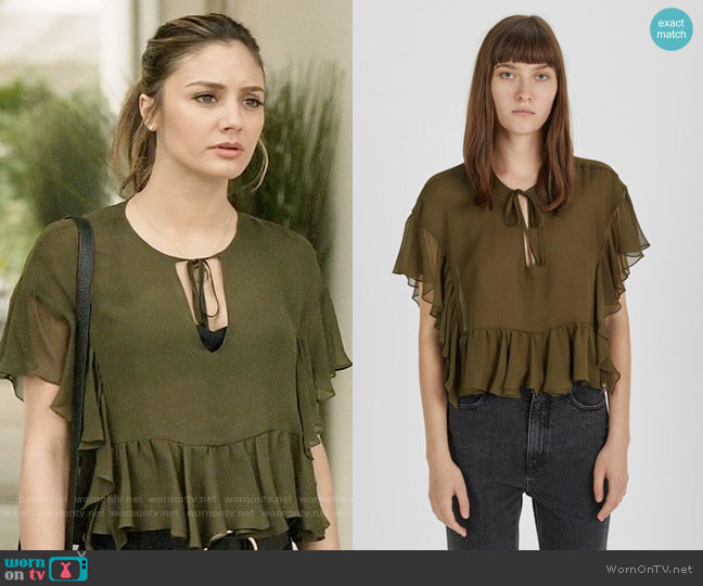 Rachel Comey Floater Ruffle Silk Top worn by Megan Morrison (Christine Evangelista) on The Arrangement
