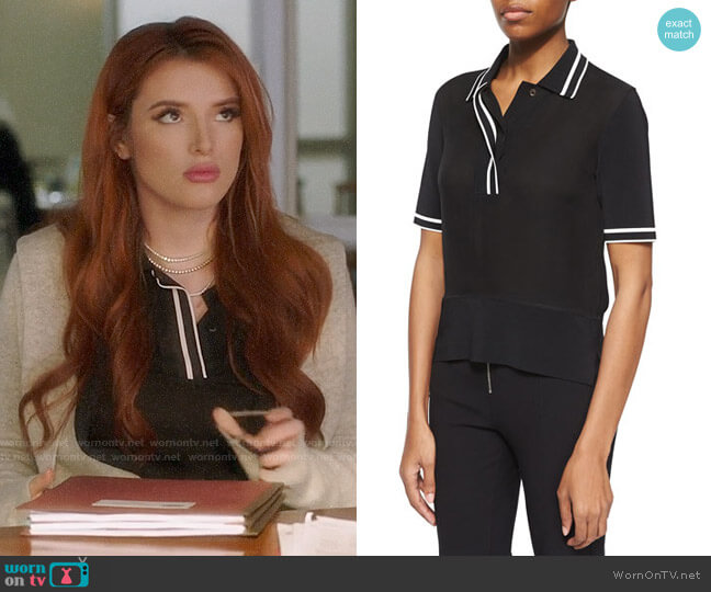 Rag & Bone Silk Dana Polo Top worn by Paige Townsen (Bella Thorne) on Famous in Love