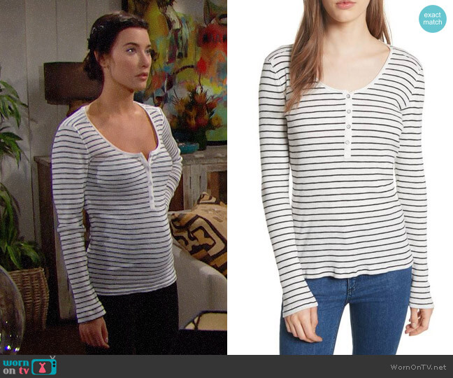 Rag & Bone/JEAN Lilies Henley worn by Jacqueline MacInnes Wood on The Bold & the Beautiful