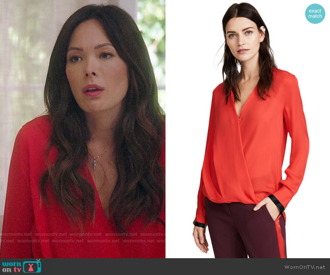 Rag & Bone Victor Blouse worn by Camille (Lindsay Price) on Splitting Up Together