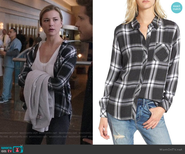 Rails Hunter Shirt in Ash/Bone worn by Emily VanCamp on The Resident