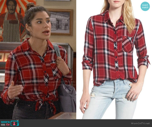 Rails Hunter Shirt in Cranberry Ink worn by Sofia (Diane Guerrero) on Superior Donuts