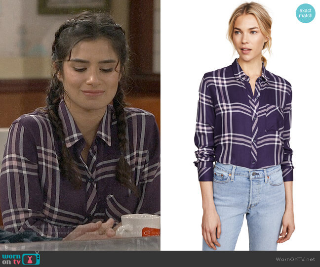 Rails Hunter Shirt in Navy Petal Pink worn by Diane Guerrero on Superior Donuts