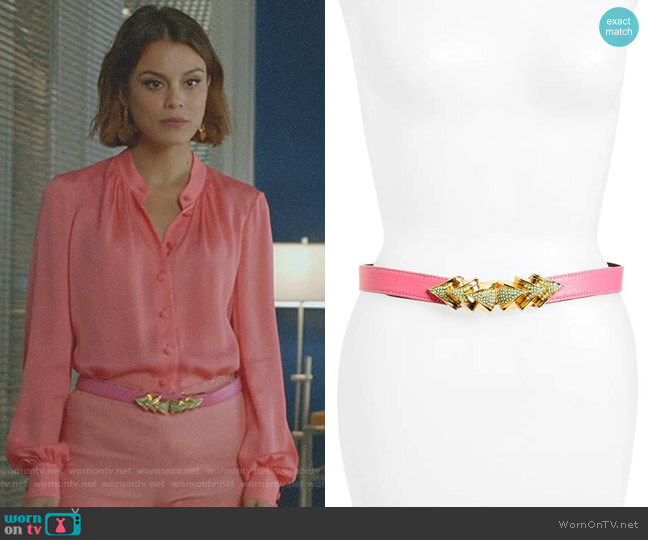 Venice Leather Belt by Raina worn by Nathalie Kelley on Dynasty