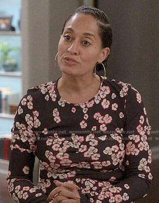 Bo's grey printed midi dress and pearl studded boots on Black-ish