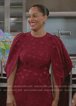 Bo's red cape sleeve dress on Black-ish