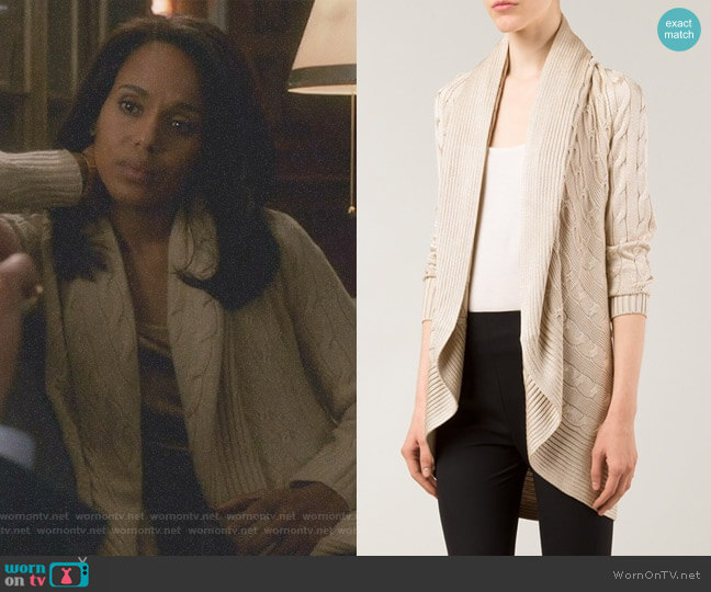 Cable Knit Open Front Cardigan by Ralph Lauren Black worn by Kerry Washington on Scandal