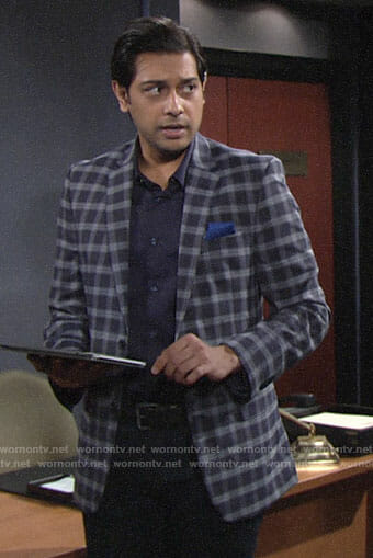 Ravi's blue checked blazer on The Young and the Restless