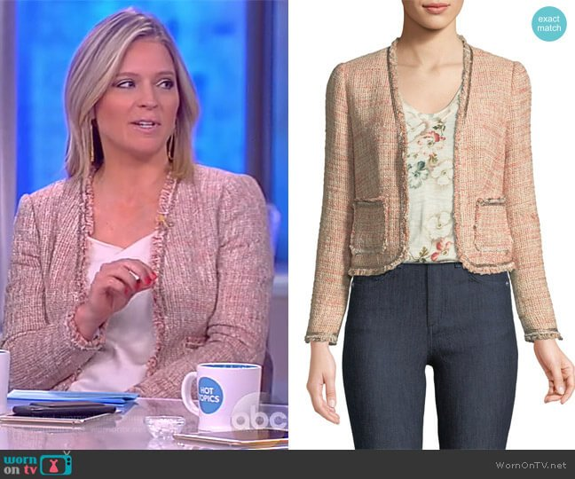 Open-Front Collarless Tweed Jacket by Rebecca Taylor worn by Sara Haines (Sara Haines) on The View