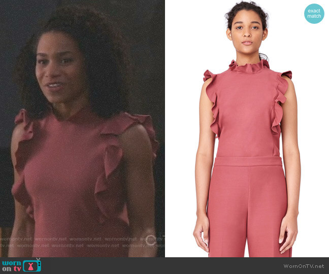 Stretch Suiting Ruffle Top by Rebecca Taylor worn by Kelly McCreary on Greys Anatomy