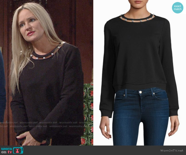 Rebecca Minkoff Pearl Cotton Sweatshirt worn by Sharon Collins (Sharon Case) on The Young & the Restless