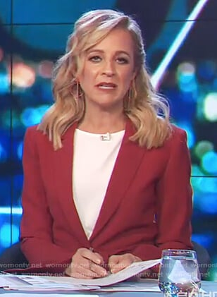 Carrie's red bell sleeve blazer on The Project