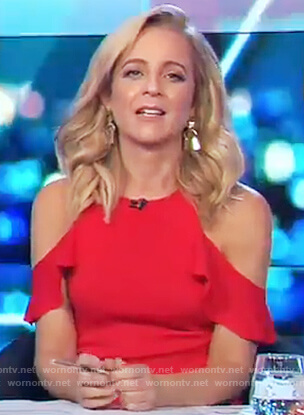 Carrie's red cold shoulder ruffle sleeve top on The Project