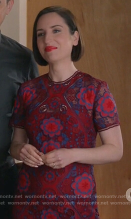 Jen's red floral lace dress on Life in Pieces