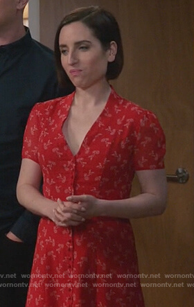 Jen's red floral print dress on Life in Pieces