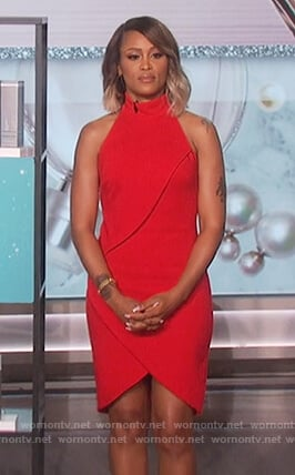 Eve's red high neck dress on The Talk