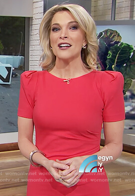 Megyn's red puff shoulder sheath dress on Megyn Kelly Today
