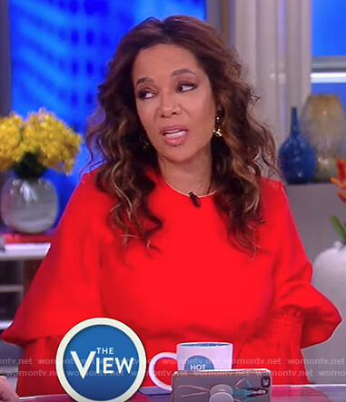 Sunny's red smocked sleeve dress on The View