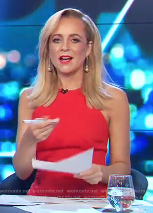 Carrie's red ruched sleeveless dress on The Project