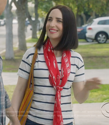 Jen's white striped tee and red skull print scarf on Life in Pieces