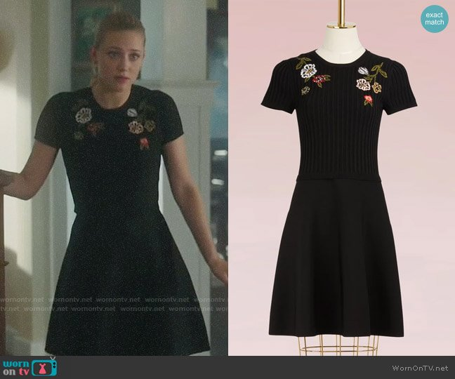 RED Valentino Floral Embroidered Knit Dress worn by Lili Reinhart on Riverdale